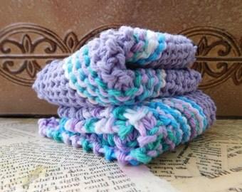 Cotton Knit Dishcloths   Set of Two, Purple, Blue Colorblock   Dishcloths   Vegan    Washcloths   Ecofriendly   Reusable   Natural