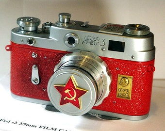 Red Vintage Red Star FED-3 camera Russian LEICA -=Lenin 100 years anniversary=-