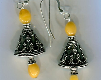 Exquisite Bali Sterling Earrings with Sleeping Beauty Turquoise, Coral, Amber ER329*