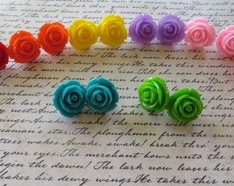 Bright Colorful Resin Rose Post Earrings