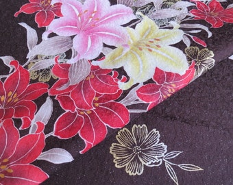 Japanese pure silk Brown Lily design 7-6