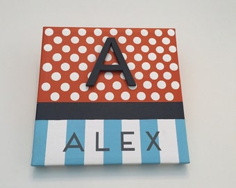 Boutique Style, Hand-Painted Wooden Wall Words on Canvas-Single Letter and Name