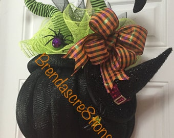 Crashing Witch In A Cauldron ~ Deco Mesh Witch ~ Halloween Witch ~Deco Mesh Cauldron~ Halloween Theme Door Decor