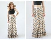 60s Boho Maxi Skirt- Chevron Bell Floral Hippie Festival Coachella, Stevie Nicks Style Flared Skirt