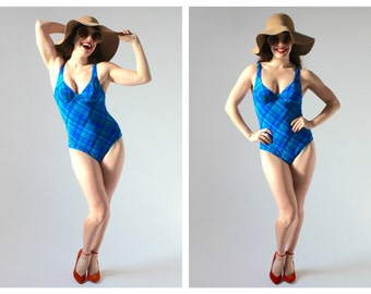 Blue Plaid Bathing Suit- Pinup 90s, Underwire, Bra, Bodysuit, One Piece, S/M, Retro Swimwear, Swimsuit LOT 3