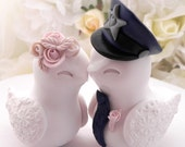 Reserved for Tanya - Police Wedding Cake Topper, Love Birds, White and Dusty Pink and Navy Blue - Bride and Groom Keepsake