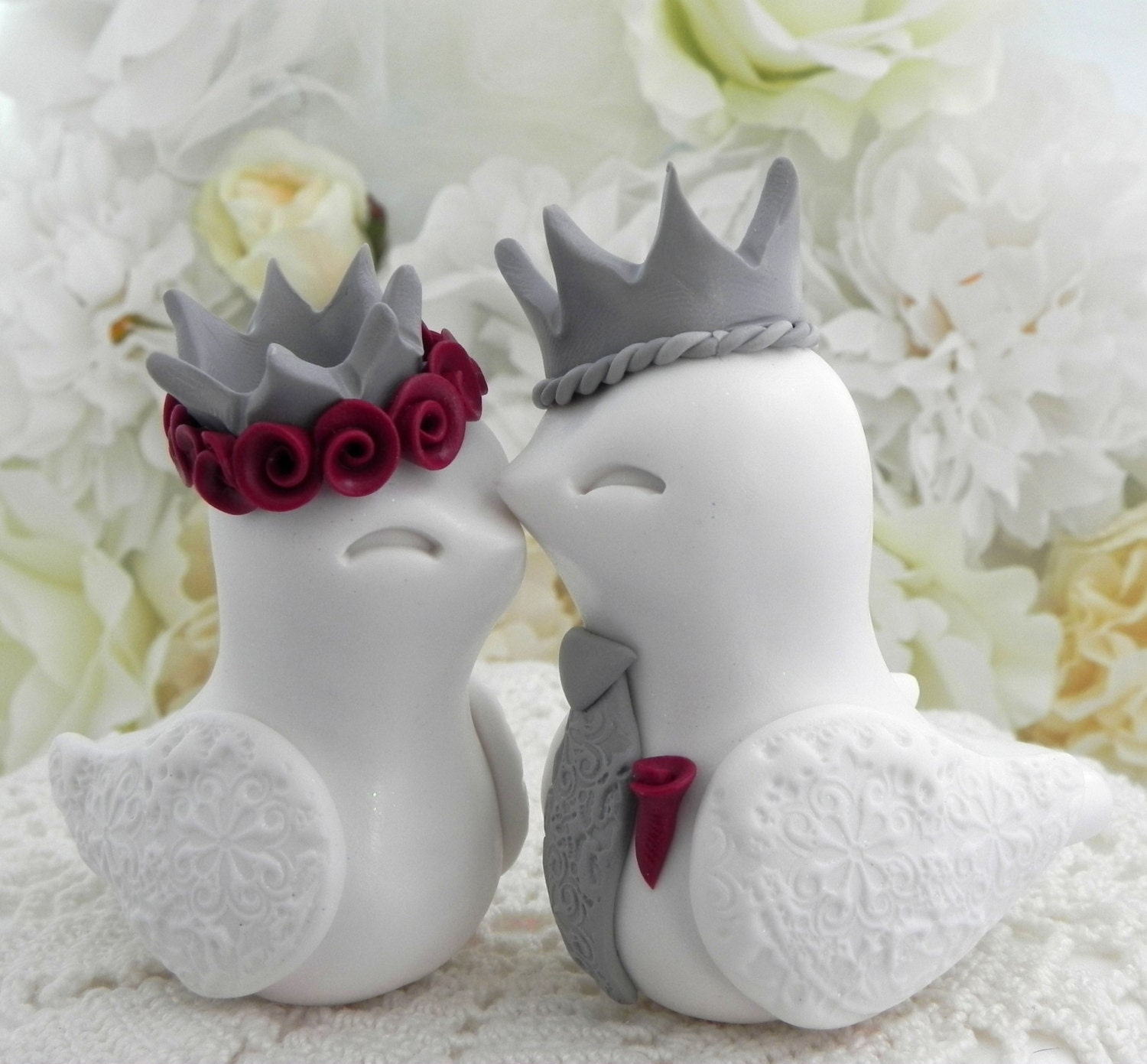 love bird wedding cake toppers king amp birds wedding cake topper white grey and 16948