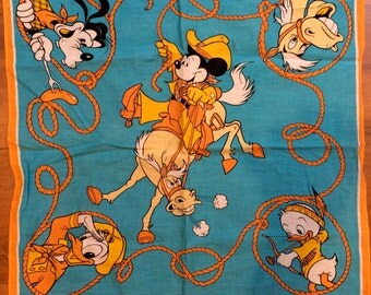 Walt Disney Productions Cotton Scarf Bandana Guffy Mickey Mouse Donald Duck Blue