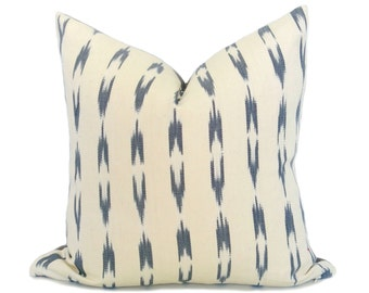 LIMITED 020 // Guatemalan Ikat Stripe Pillow Cover - Gray and Cream - Decorative Pillow - Boho Pillow - Ikat Pillow - Aztec Pillow - Throw