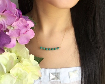 Turquoise Bar Necklace-14K Gold Filled Chain-Czech Beads