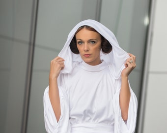 Princess Leia White Gown, Star Wars, Cosplay, Episode IV, A New Hope, Leia's Classic Hooded White Gown