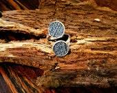 Denim Ring- 10 mm Double Round Adjustable finger Jean  Ring