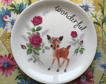 Wonderful Flower Deer Large Vintage illustrated Plate