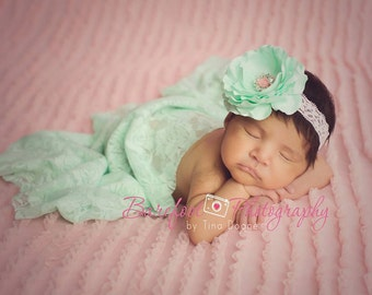 Pink Mint Swaddle & Headband Set, Newborn Wrap Set, Baby Wrap, Newborn Lace Wrap, Newborn Stretch Wrap, Newborn Photo Prop