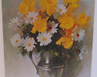 Daisy Flowers Still Life on Mat Board by Colao titled Daisies