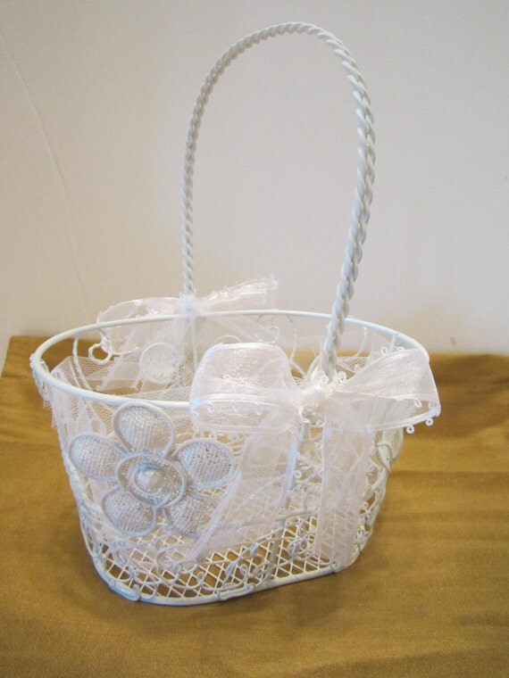 Flower Girl Basket - White Wire Basket with Daisy Design - Dressed Up and Wedding Ready - Ready to Ship