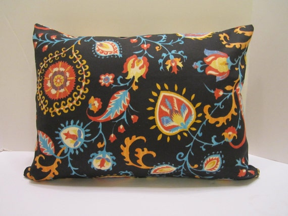 Lumbar Pillow Covers - Multi Colors on Black, Rust, Terra Cotta, Orange, Turquoise, Teal, Yellow, White