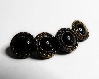 Vintage Black Glass Buttons Gold Luster