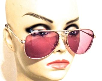 vintage purple aviators - 1970s purple-tint glasses