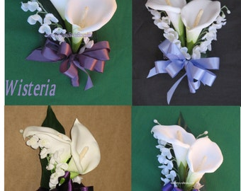 White Calla Lily Mother's Corsages, Iris Corsage, Regency Corsage, Wisteria Corsage, Eggplant Corsage