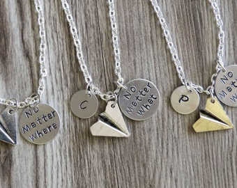 No Matter Where What When Necklaces Set, Personalized Gifts, Hand Stamped Necklace, Airplane Necklaces, Airplane Distance Friendship