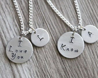 I love you I know Necklace, Personalized Gifts, Hand Stamped Necklace, Initial Necklace, Gift for her, Mother Daughter Gift, Gift Set Mother