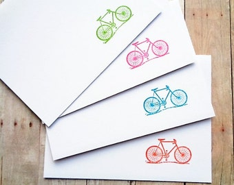 Bicycle Note Cards Rainbow Pink Green Blue Orange