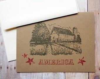 Rustic Barn Note Cards Stationery Card Set Farm America Midwest Heartland Farmhouse Patriotic Stars American