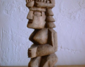 Carved Wood BIRTHING WOMAN Aztec Mayan South America Totem Sculpture