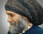 Warm, Woolly Dread Hat Charcoal Black, Deep Teal, and Chestnut, Festival Clothing, Burning Man Clothing