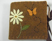 Needle Book Wool Blend Felt Flower & Butterfly in Warm Russet Brown with 5 Needles and 1 Decorated Pin
