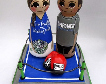 Wedding Cake Topper / Wrestling / Boxing / Custom Painted Wood Peg Dolls with Custom Plaque and Gear