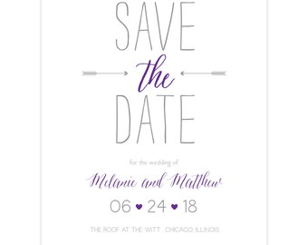 """Purple and grey save the date card """"Arrow Love""""; SAMPLE ONLY"""
