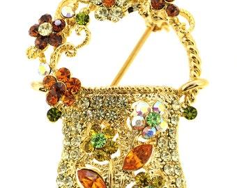 Yellow Lady Handbag Pin Brooch 1013202