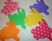 6 Iron On Fabric Applique Easter Bunny Bunies....Pastel Girl..Great For Baby Shower Onesie Making