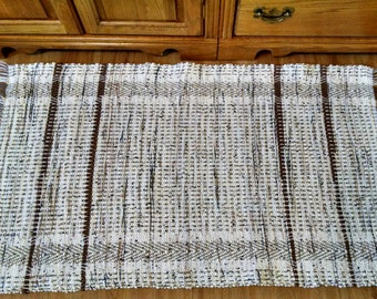 Shades of tan, handwoven rag rug, recycled