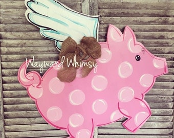 Flying pig Wood Cut Out Door Hanger