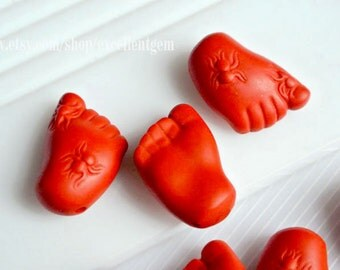 Tibet beads 7% off Vintage carved red cinnabar beads, Asian style caved Baby foot beads for earring making.-#7123