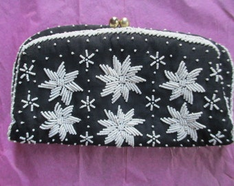 SALE-Vintage 1960's Hand Made Beaded Silk Evening Clutch Bag Hong Kong