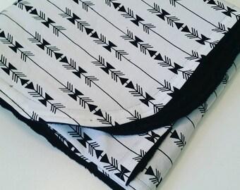 Baby Blanket - Tribal Baby Blanket - Minky Blanket - Black White Blanket - Aztec Baby Blanket - Baby Shower Gift
