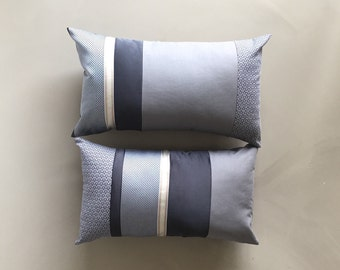 minimalist home grey tones striped lumbar pillow - set of 2x - black grey masculine 12x20 lumbar pillow - gift for him - housewarming gift