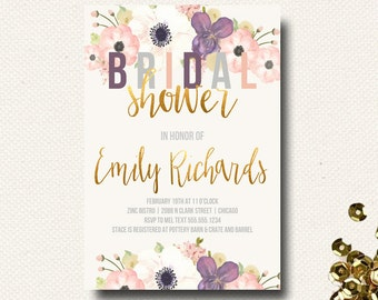 Bridal Shower Invitation Boho Chic Invitation Floral Gold Eggplant Purple