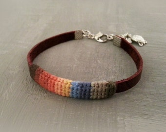 Slim Men Bracelet, Multicolor Friendship Mens Bracelet, Leather Men Bracelet Turtle Charm, simple bracelet men