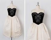 vintage 1960s dress / 1960s Victoria Royal dress / beaded silk dress / Gatchina Palace dress