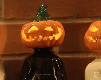 Jack-o'-lantern Head Ghost Ceramic Pumpkin in Black, Orange, Yellow and Green Halloween Decoration Sculpture