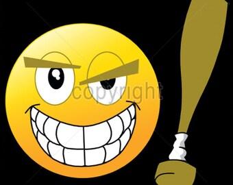 UNISEX ADULT T Shirt Emoji Baseball Bat  18514