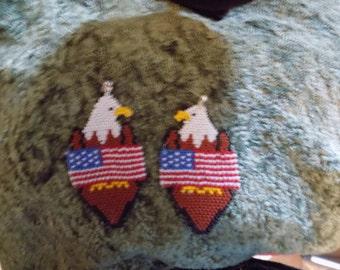 New Handmade Eagle and U.S.A Flag Earrings
