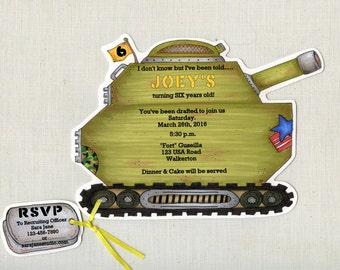 Birthday Party Invitations - Tank - Military - Army - Personalized - Printed - Green - Boy - Birthday - Invites - Sara Jane - Set of 12