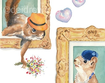 Watercolor PRINT - Squirrel Print, Love, Romance, Squirrel Painting, 8x10 Art Print