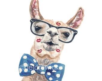 8x10 Llama Watercolor PRINT - Llama Illustration, Nerdy Animal, Hipster Glasses